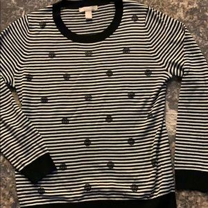 Sweater striped with navy circle sequin.